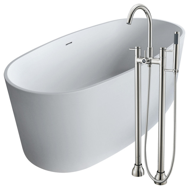 Anzzi 61.4 Man-Made Stone Soaking Bathtub With Brushed Nickel Faucet.