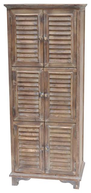 Jackson 6 Door Weathered Cabinet, Oak - Rustic - Pantry ...