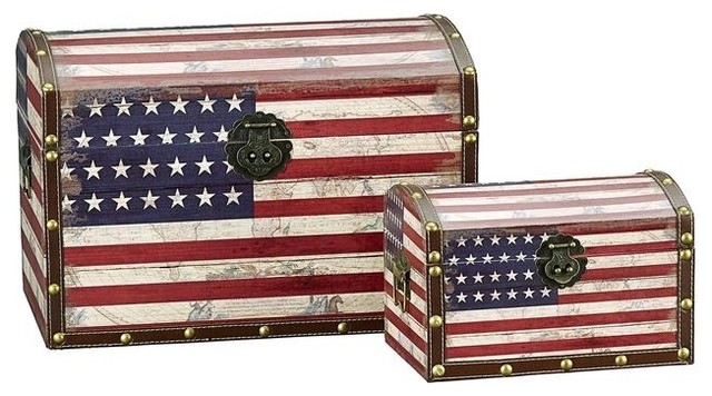 Superb American Flag Design Trunk/Large And Small/Dome Lid Modern Furniture