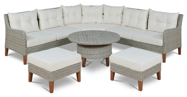 6-Piece Sectional Set With Ottoman.