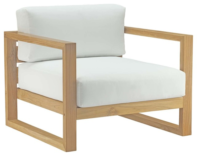 Upland Outdoor Teak Wood Armchair, Natural White