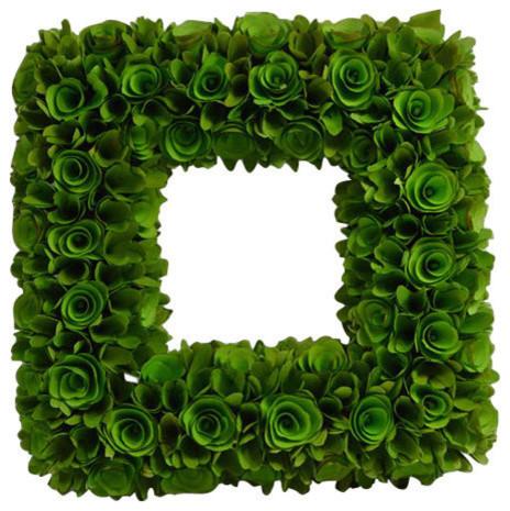Square Woodchip Wreath, Green.