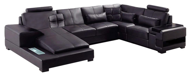 Diamond Modern Black Leather Sectional Sofa By Divani Casa