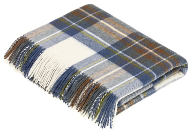 Tartan, Merino Lambswool, Muted Blue Stewart, Throw Blanket.