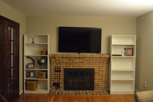What Type Of Bookshelves Beside Fireplace?