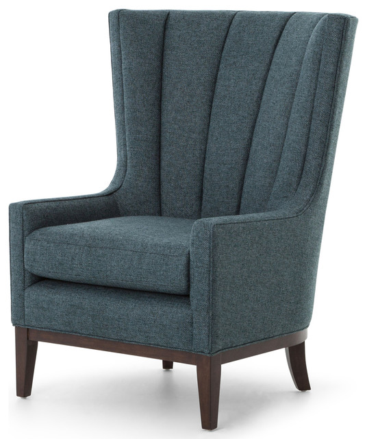 Wonderful Vida Modern Classic Dark Peacock Teal Fabric Wood Wing Armchair Modern  Armchairs And
