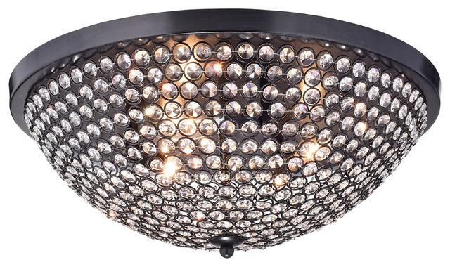 Corona Large Dome Shade Crystal Flush Mount 3-Light Black Ceiling Fixture.