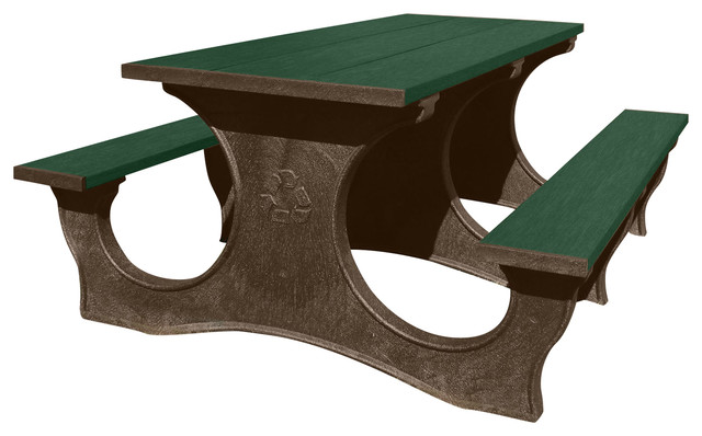 Recycled Plastic Legacy Walk Thru Picnic Table Brown Frame - Walk in picnic table