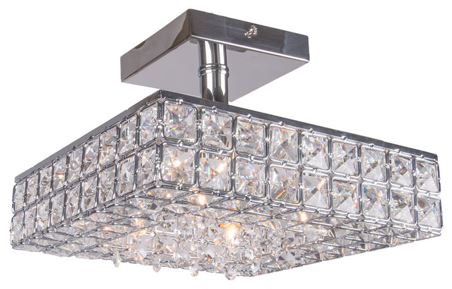 Joshua marshal 4 light crystal square semi flush mount light in 4 light crystal square semi flush mount light in chrome finish with crystal contemporary flush aloadofball Gallery