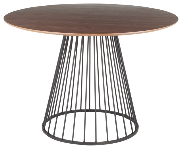 LumiSource Canary Dining Table, Black Metal and Walnut Wood Top