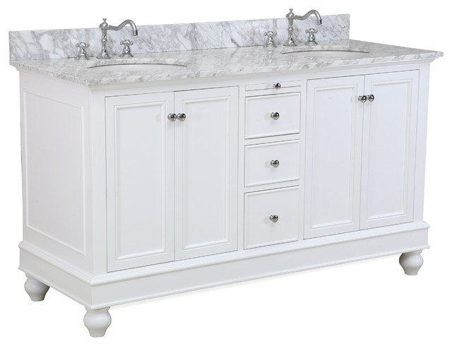 "Bella 60"" Bath Vanity, Base: White, Top: Carrara Marble, Double Vanity."