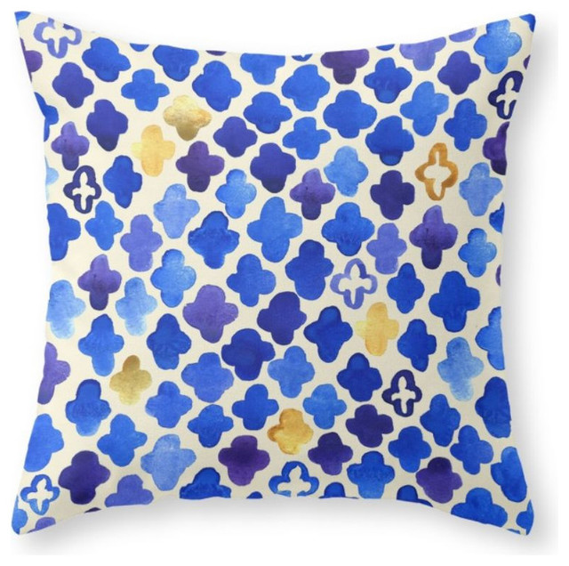 Society6 rustic watercolor moroccan in royal blue and gold for Blue and gold pillows