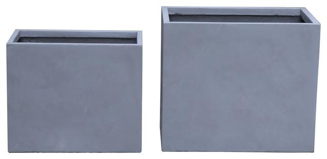 """Modern Rectangular Outdoor/Indoor Concrete Planter, 24""""x28"""""""