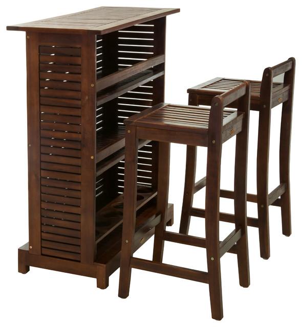 Catrina Mahogany Stained Wood Bar Stool Bar 3 Piece Set Contemporary Patio  Furniture