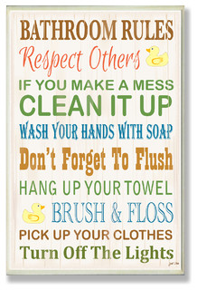 Shop Houzz | Stupell Industries Bathroom Rules Typography Rubber Ducky Bath Plaque - Novelty Signs