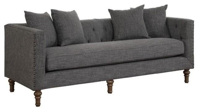 Coaster Ellery Upholstered Sofa, Gray.