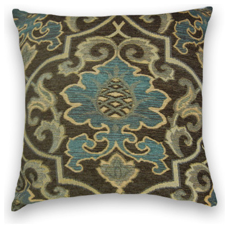 Brown Chenille Throw Pillows : Blue Brown Chenille Abstract Throw - Traditional - Decorative Pillows - by Cody & Cooper Designs