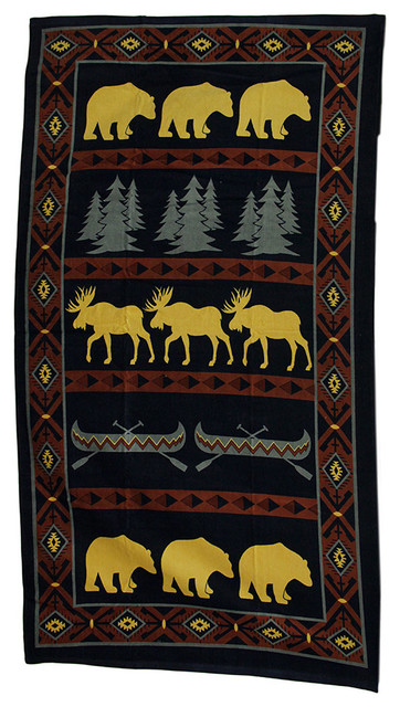 Outdoor Adventure Decorative Lodge Style Moose And Bear Beach Towel 63x35.