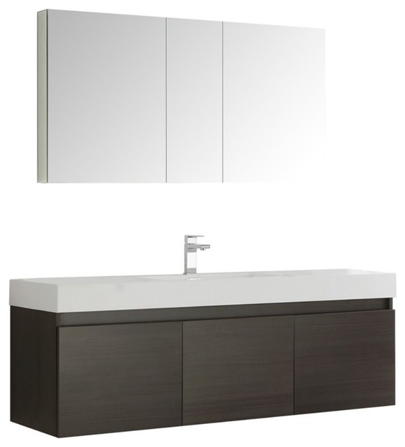 "Mezzo 60"" Gray Oak Wall Hung Single Sink Modern Bathroom Vanity, Fft9161bn."