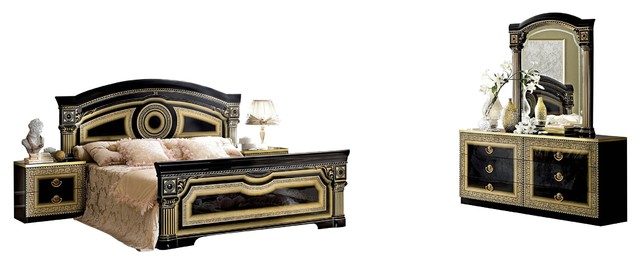 Aida Italian 5 Piece Bedroom Set Black And Gold King