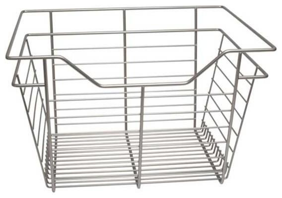 """Closet Wire Drawer Basket, 17""""x11""""x14"""", Nickel."""