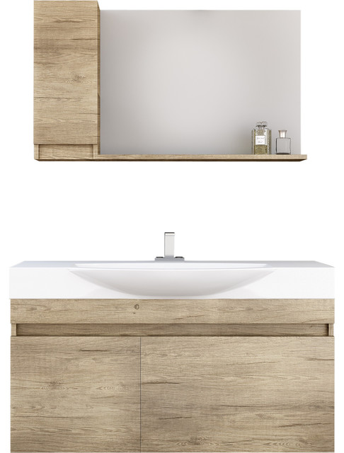 "Dp Wall Bath Vanity Cabinet Set 41.3"" Single Sink With Laminated Pl Wood Finish."
