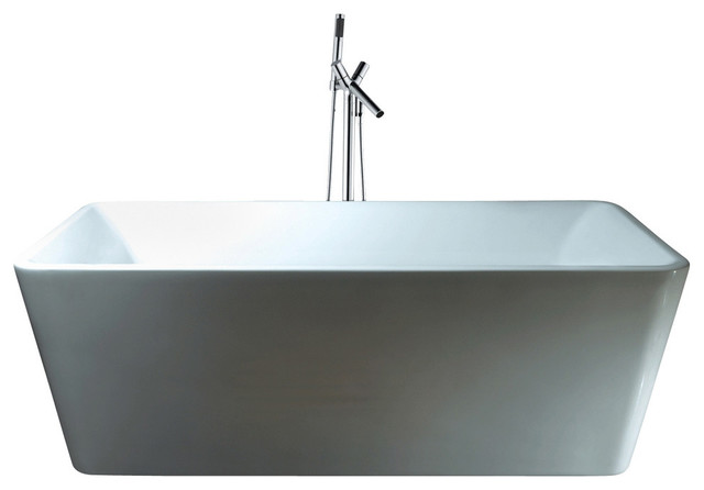"67"" Bathroom White Acrylic Freestanding Bathtub, Brass Faucet Combo."