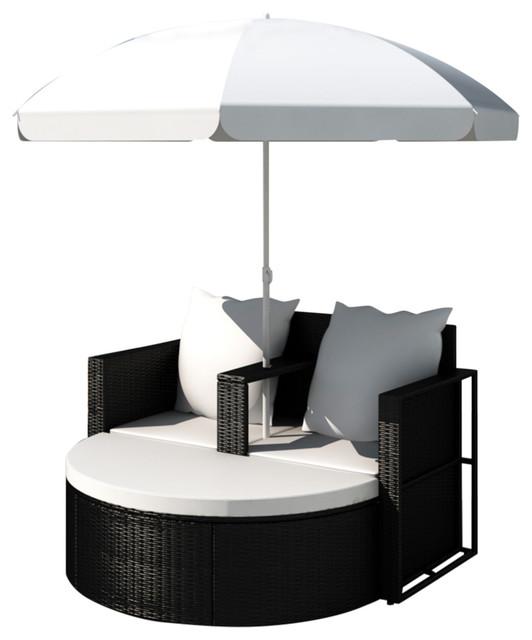 vidaXL Lounge Set Poly Rattan Black Sunbed Parasol Garden Outdoor Umbrella