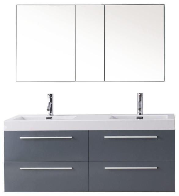 "Virtu Finley 54"" Double Bathroom Vanity, Gray, Polished Chrome Faucet."