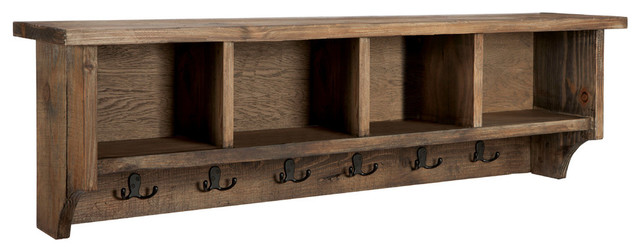 Modesto 48 Reclaimed Wood Entryway Wall Coat Hooks With Storage Cubbies Natura