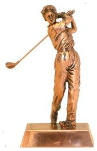 Ba 8 Inch Copper Color Female Back Swing Golfer Figurine