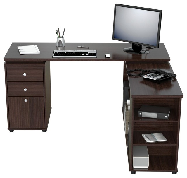 Inval L Shaped Computer Work Station Espresso Wengue Desks And