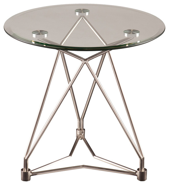 Erynne Tail Table Brushed Silver End