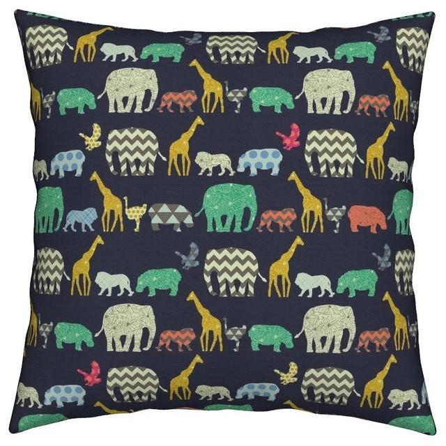 Elephant Geometric Flowers Hippo Baby Nursery Throw Pillow Cover Organic Sa