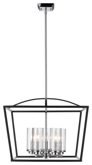 Mercer 5-Light Chandelier, Black With Seeded Glass.
