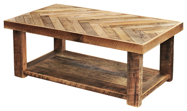 Herringbone Pattern Table With Bottom