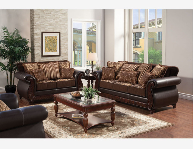 - Traditional Brown Fabric Leather Sofa Couch Loveseat Pillow Living Set - View in Your Room ...
