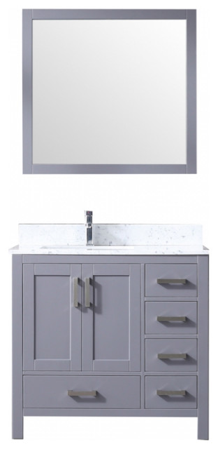 36 Inch Modern Dark Gray Bathroom Vanity Left Side Offset Sink Choice Of Top Transitional Bathroom Vanities And Sink Consoles By Unique Online Furniture Houzz