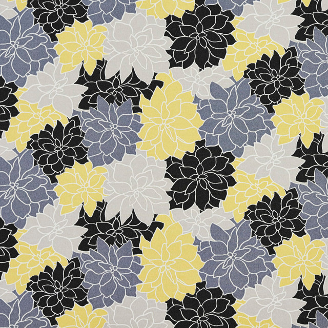 Black Grey And Yellow Contemporary Flowers Outdoor Upholstery Fabric By The  Yard   Beach Style   Outdoor Fabric   By Palazzo Fabrics