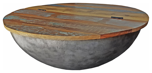 Recycled Wood Semi Circle Iron Coffee Table
