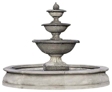 Campania International Fonthill Tiered Outdoor Water Fountain With Basin Outdoor Fountains And
