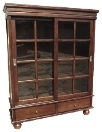 D-Art Collection Home Decorative Mahogany Sliding Door Curio Cabinet.