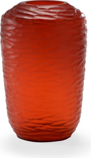 Sesse Vase, Hand Shaved, Red, Large