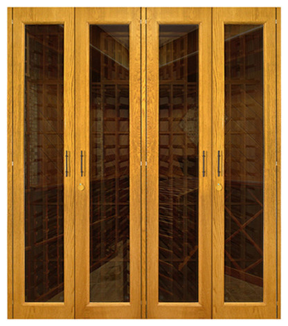 1400-Model White Oak Wine Cabinet With 4 Glass Doors ...