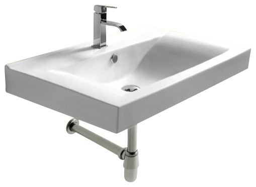 Rectangular White Ceramic Wall Mounted Bathroom Sink, One Hole