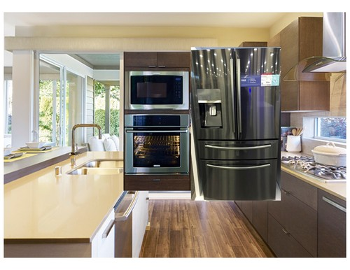 Black stainless fridge with other ss appliances for Colors for kitchen cabinets with stainless steel appliances