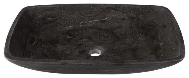 Stone Vessel Sink, 22 3/4, Rectangular, Dark Gray Limestone, Polaris, P868.