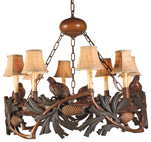 Pinecone And Quail Chandelier