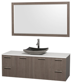 Amare 60 Bathroom Vanity Gray Oak Modern Bathroom Vanities And Sink