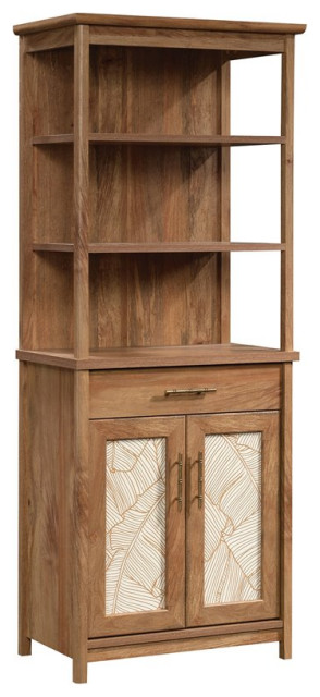 Sauder Coral Cape Contemporary Wood Tall Bookcase With Doors in Sindoori Mango